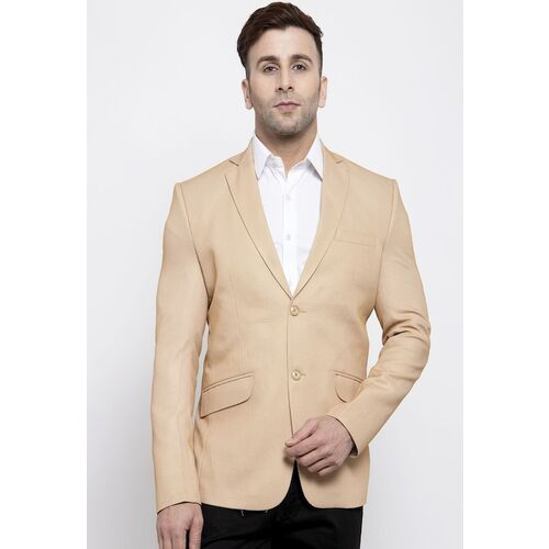 Wintage Men Beige Solid Tailored-Fit Single-Breasted Formal Blazer