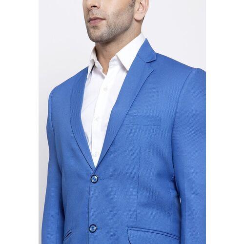 Wintage Men Blue Self Design Tailored-Fit Single-Breasted Blazer
