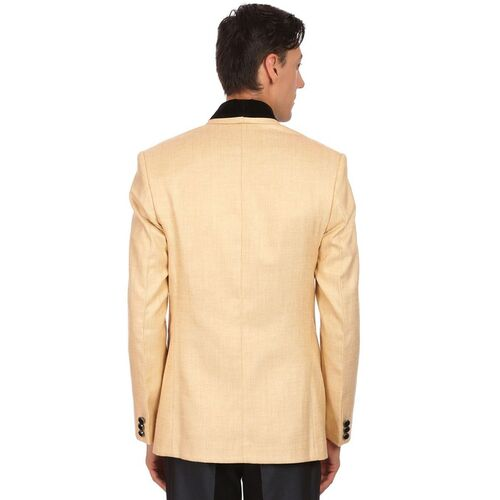 Wintage Men Beige Single-Breasted Tailored Fit Casual Blazer