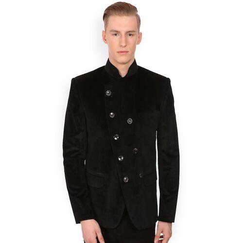 Wintage Men Black Double-Breasted Velvet Tailored Fit Ethnic Bandhgala Blazer