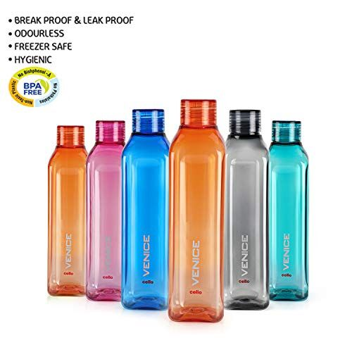 Cello Venice Plastic Water Bottle, 1L, Set of 6, Multicolour
