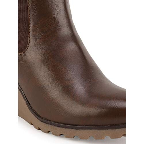 Bruno Manetti Women's Mid Ankle Length Zip Closure Wedge Boots