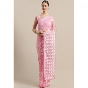SAREE MALL Floral Embroidered Saree with Unstitched Blouse