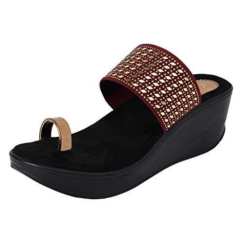 Catwalk Women's Maroon Wedge Sandals Fashion
