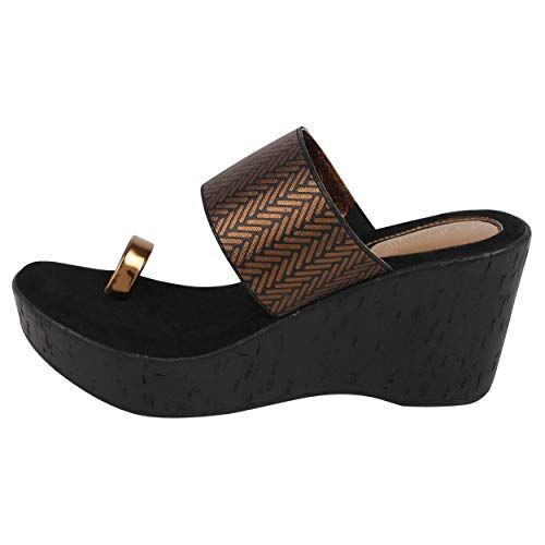 Catwalk Bronze Wedges Sandals for Women's