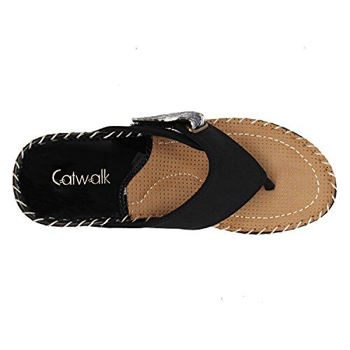 Catwalk Black Leather Slip-on Wedges for Women's