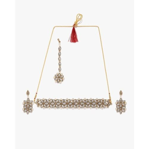 Zaveri Pearls Crystal Shine Stone-Studded Pearls Choker with Earrings & Maang tikka