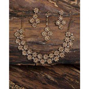Zaveri Pearls Austrian Diamonds & Pearl Studded Necklace Set-ZPFK8908