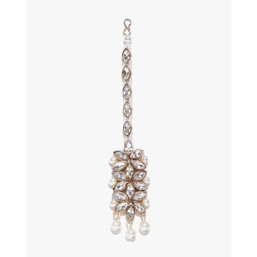 Zaveri Pearls Multi-Stranded Necklace Earrings & Maang Tika Set-ZPFK6989