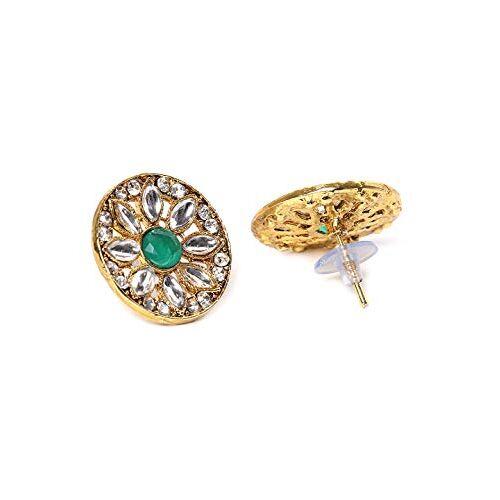 Zaveri Pearls Green Crystal Beads & Kundan Choker Necklace & Earring Set For Women-ZPFK9562