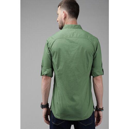 Roadster Men Green Regular Fit Solid Casual Shirt