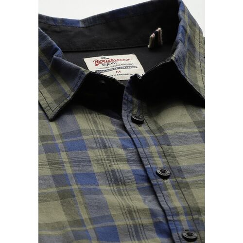 Roadster Men Olive Green & Blue Pure Cotton Checked Casual Shirt