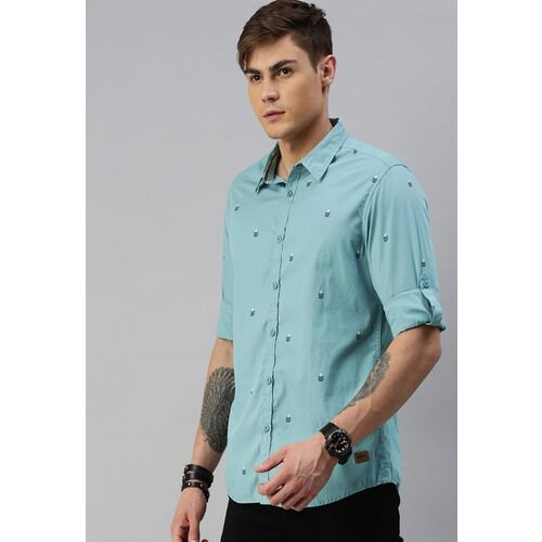 Roadster Men Blue & White Regular Fit Printed Casual Shirt