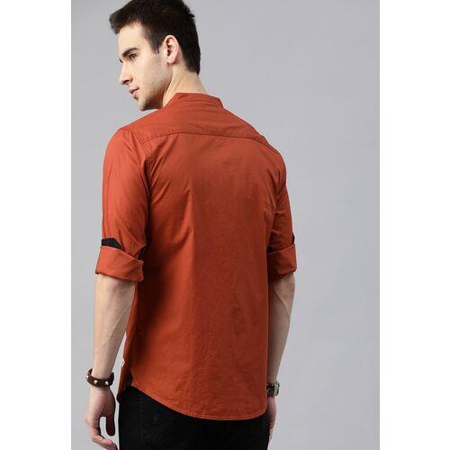 Roadster Men Rust Regular Fit Solid Casual Shirt