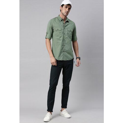 Roadster Men Green Solid Regular Fit Casual Shirt