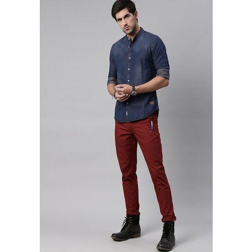 Roadster Men Blue Regular Fit Solid Casual Denim Shirt