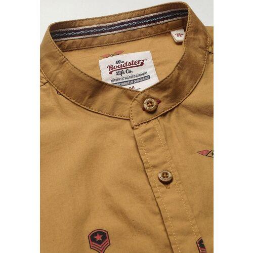 Roadster Men Brown & Red Regular Fit Printed Casual Shirt