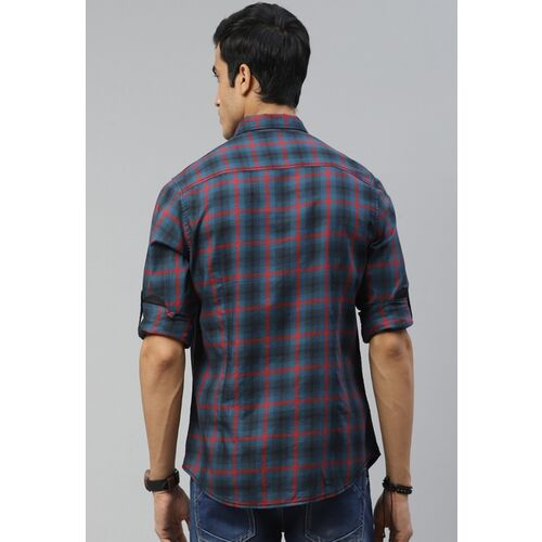 Roadster Men Blue & Red Checked Pure Cotton Regular Fit Casual Shirt
