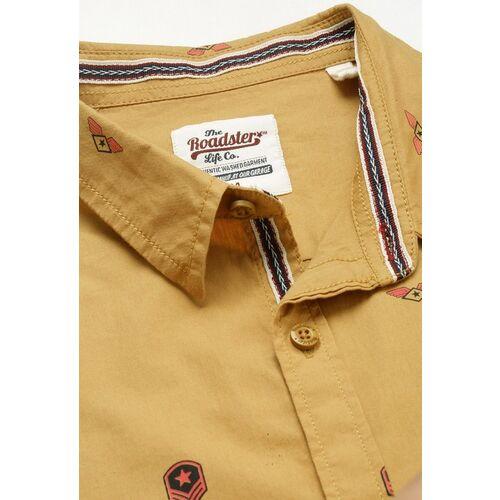 Roadster Men Brown Regular Fit Printed Casual Shirt