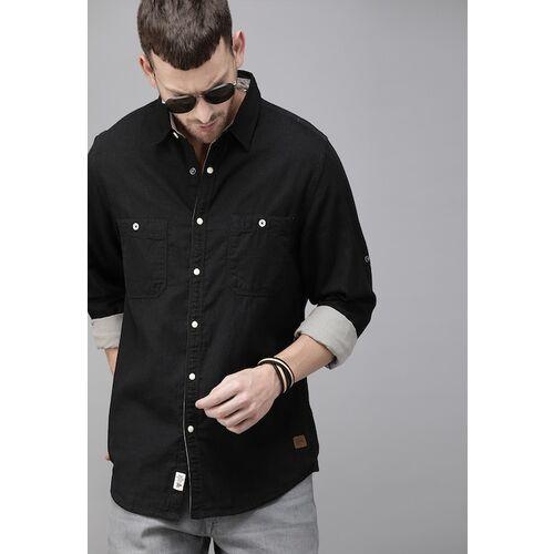 Roadster Men Black Regular Fit Solid Casual Shirt
