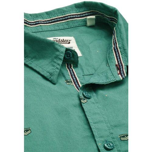 Roadster Men Green & Black Regular Fit Printed Casual Shirt