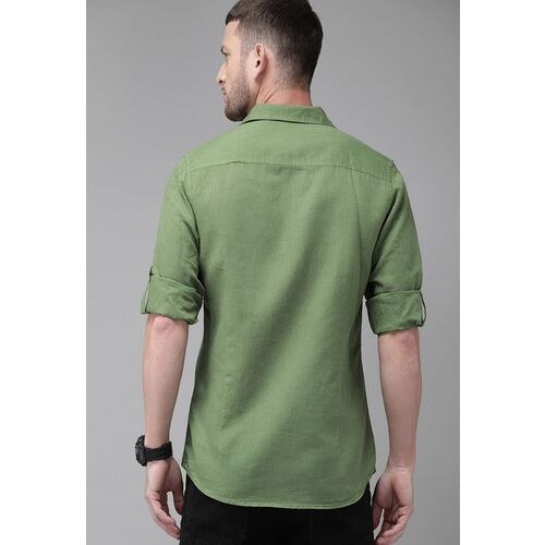 Roadster Men Green Regular Fit Solid Casual Linen Shirt