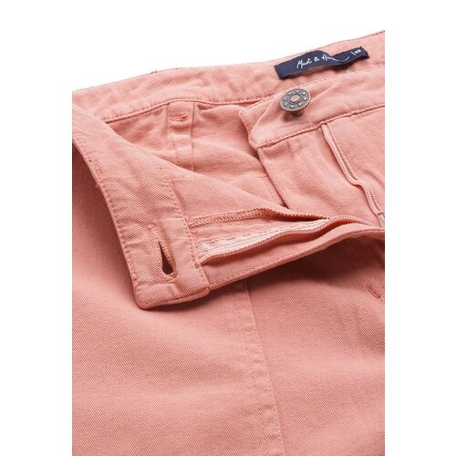 Mast & Harbour Women Peach-Coloured Pure Cotton Straight Fit Solid Crop Regular Trousers