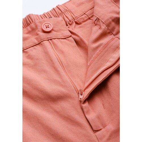 Mast & Harbour Women Peach-Coloured Pure Cotton Pleated Trousers