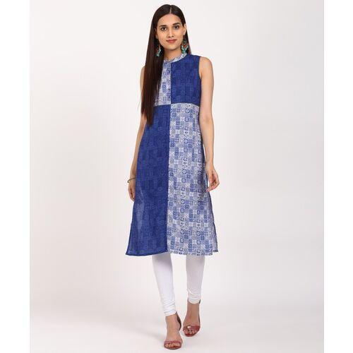 Aurelia Women Printed Straight Kurta(Blue)