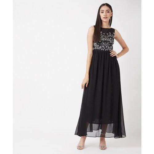 Miss Chase Women Gathered Black Dress