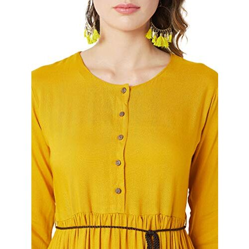 Miss Chase Women's Mustard Yellow Solid Midi Dress