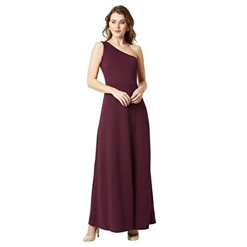 Miss Chase Women's Designer Crepe One-Shoulder Sleeveless Solid Side Slit Maxi Dress with Zip Closure