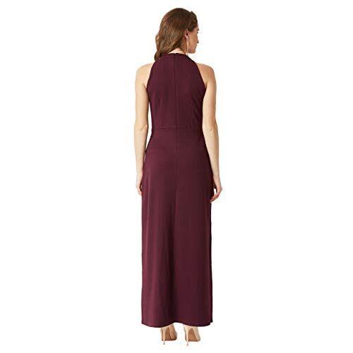 Miss Chase Women's Designer Wine Red Fringed Halter Neck Sleeveless Solid Maxi Front Slit Dress