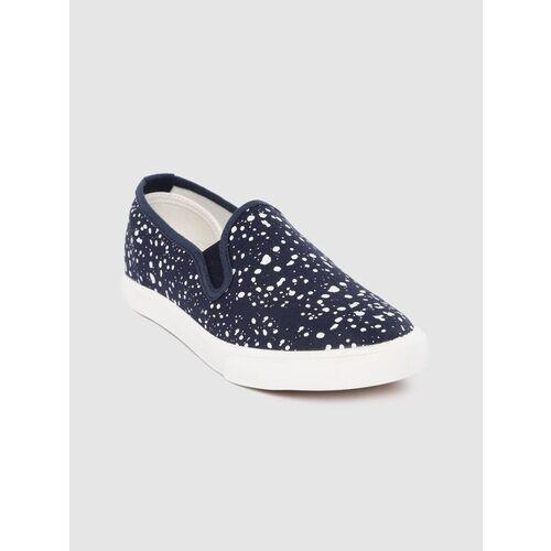 KOOK N KEECH Kook N Keech Women Navy Blue Paint Splatter Print Slip-On Sneakers Slip On Sneakers For Women(Navy)