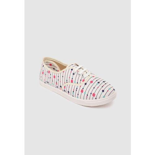 Kook N Keech Women Off-White & Navy Striped Sneakers