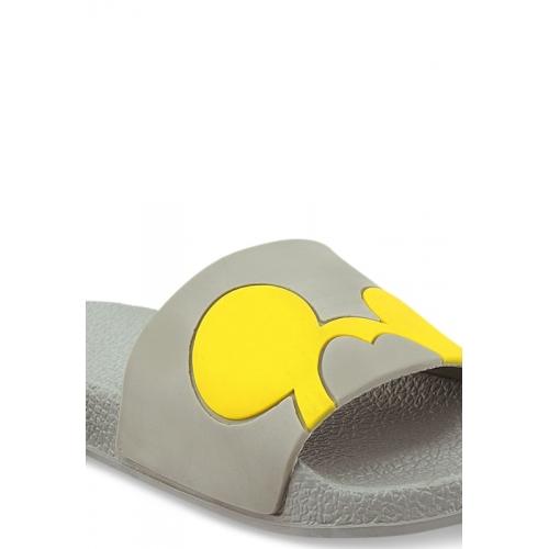 Shoetopia Grey & Yellow Printed Sliders