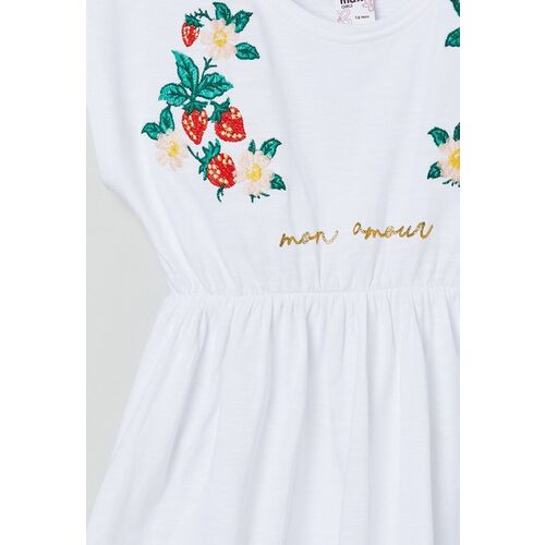 max White Floral Embroidered Pure Cotton Regular Top
