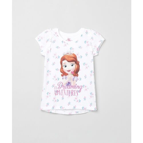 MAX Girls Printed Pure Cotton T Shirt(Beige, Pack of 1)