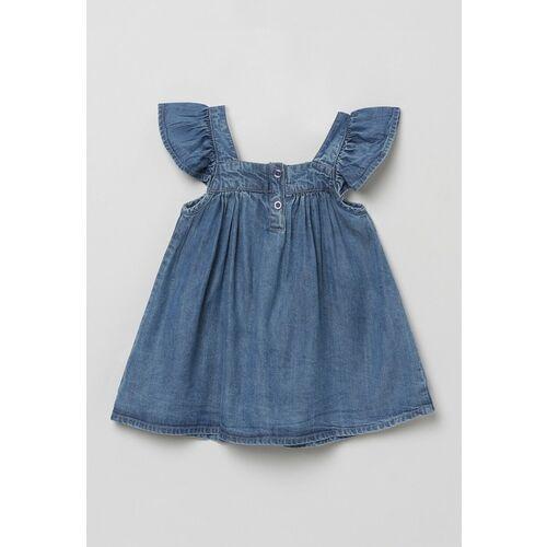 max Girls Blue Flutter Sleeve Indigo A-Line Cotton Top