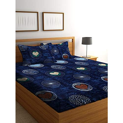 Bombay Dyeing Celebrating India 210 TC 100% Cotton One Double Size(220x240Cm) Bedsheet with 2 Pillow Covers.