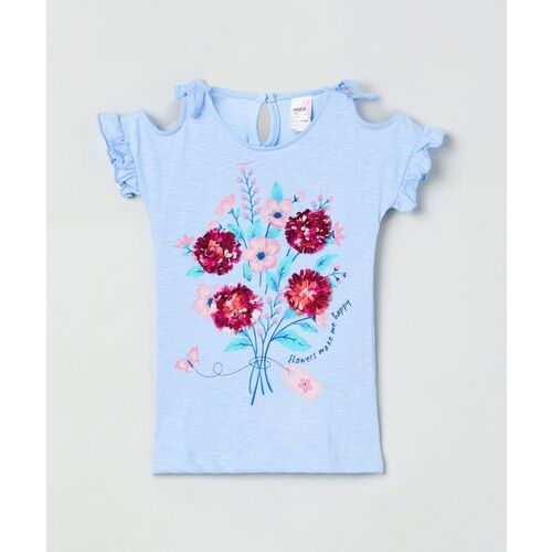 MAX Girls Pure Cotton Top(Blue, Pack of 1)