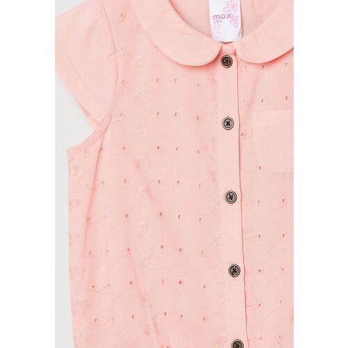 max Girls pink printed peter pan collar pure cotton shirt style top