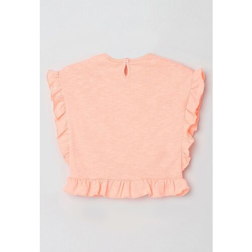 max Girls Orange Embroidered Flutter Sleeve Cotton Regular Top