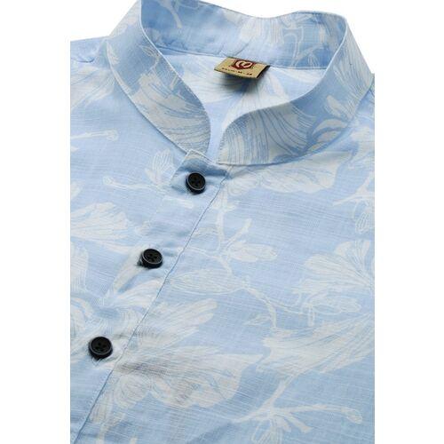 Manyavar Men Blue & White Printed Straight Kurta