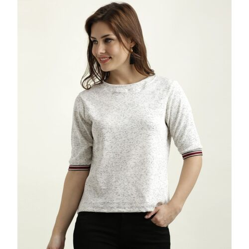Miss Chase Casual Half Sleeve Heathered Women White Top