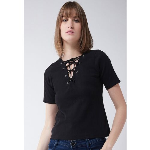 Miss Chase Women Black Solid Top