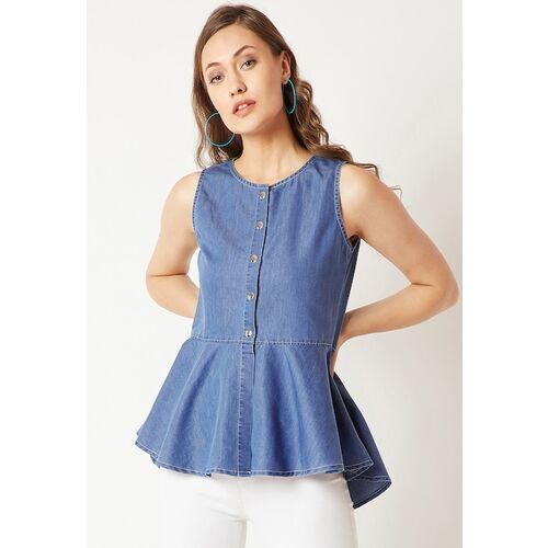 Miss Chase Women Blue Solid Peplum Denim Top
