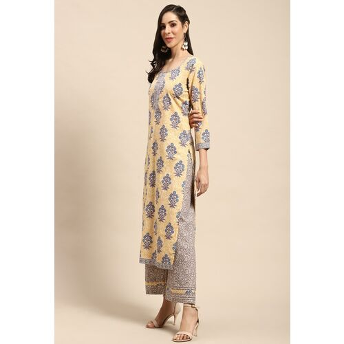 Rajnandini Yellow & Blue Pure Cotton Unstitched Dress Material