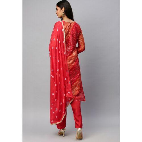 Rajnandini Red & Orange Cotton Blend Bandhani Printed Unstitched Dress Material