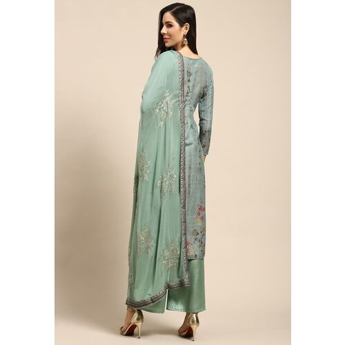 Rajnandini Green & Golden Pure Cotton Floral Printed Semi-Stitched Dress Material